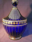 czech hand blown art glass vase CLEAR royal blue with gold
