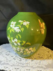 VINTAGE HAND PAINTED GREEN FLORAL VASE WITH BUTTERFLIES