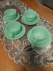 Fire King Jadeite Jane Ray Cup and Saucer Sets (4 Sets)