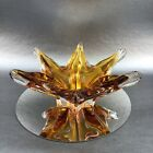Golden Amber Murano Italy Vintage 9 Hand Blown 6 Arm Art Glass Bowl Chalet Chip