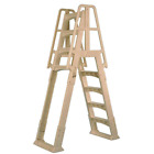 Frame Ladder For Above Ground Pool With Slide Lock Barrier In Taupe