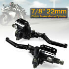 1 Pair 7 8 Motorcycle Master Cylinder Hydraulic Brake Pump Clutch Lever SET US