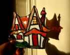 stained glass Red Roofed Clarice Cliff style Cottage lamp tealight suncatcher