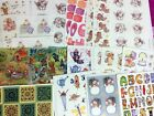 Lot of 42 Vintage Hallmark Sticker Sheets Angles Bears Animals and others