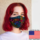 Face Mask reusable Cotton small adult teens hand made I Love My Dog Rainbow
