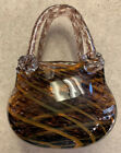 Beautiful Hand Blown Art Glass Purse Vase purpleorangegreens