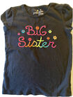 Jumping Beans Black Big Sister Embroidery Detail Shirt Size 5T Toddler Girls 5