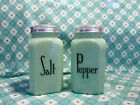 Jadeite Green Glass Range Style Salt and Pepper Shakers in Excellent Condition