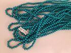 12 Strands Japanese 35mm Round Teal Acrylic Faux Pearls Plastic Beads 60 VTG