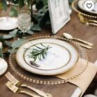 GLASS CHARGER PLATE BEADED GOLD SILVER ROSE GOLD GOLD LEAF 33CM DIAMETER WEDDING