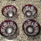 4 CRYSTAL CRANBERRY RED CUT TO CLEAR BOWLS