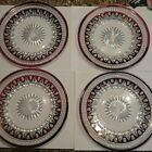 4 Thumbprint Red Ruby Cranberry 825 Salad Plates