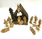 Vintage Set of 14 Depose Fontanini Nativity Stable w Figurines Holy Family Magi