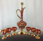 Venetian Murano Decanter Cup Set Italian Glass Ruby Gold Grecian Figures Wine