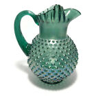 Vintage Fenton Glass Hobnail Pitcher Emerald Green Large 9 3 4 Tall EUC