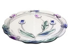 Mikasa Crystal Glass Cake Plate Pink Blue Green Tulip Design 145 in