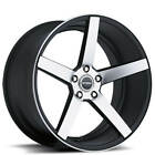 20 Staggered Strada Wheels Perfetto Black Machined Rims Qty 4