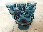 MCM 1960s Indiana Glass Kings Crown Thumbprint Teal Blue Footed Sherbet SIX