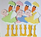 Premade Die Cut Paper Piecing for Scrapbook Pages Stork Baby New Arrival