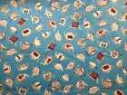 Britain Teapots Tea Time Great Britain UK Blue Red White 21 Quilt Fabric Sew
