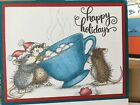 Stampendous cling mounted rubber stamp HOUSE MOUSE SHARING A SIP cocoa