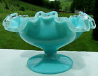 FENTON GLASS Vintage 1950s TURQUOISE RUFFLED SILVERCREST COMPOTE BOWL 675W