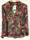 Kut From The Kloth Stitch Fix Green Pink Floral Sinclaire Button Blouse Medium M