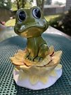 Vintage Neil the Frog on Sunflower Lily Pad Stacking Salt  Pepper Shakers Japan