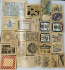 Lot of 28+ Large Rubber Stamps Floral Fashion Collage Cake Koi Travel Baby Beach
