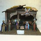 Vtg Sears Nativity Set Italy 9 Figures Real Wood  Moss Stable w Box