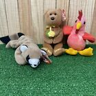 Lot of 3 Ty Beanie Baby Babies - Clucky, Ringo, and Bandage - Bundle