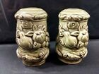 OLIVE GREEN CANISTER WITH FRUIT SALT AND PEPPER SHAKERS MADE IN JAPAN