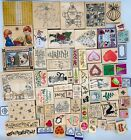 Large Lot of 80 Rubber Stamps Christmas  Valentines Theme New  Used
