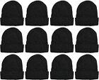 Yacht & Smith Sherpa Lined Winter Beanie in Solid Black (Assorted, 12 Pack)