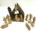 Vintage Set of 14 Depose Fontanini Figurines Holy Family Magi w Nativity Stable