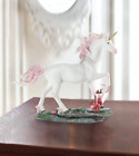 Magical Renaissance pink white unicorn ruby red crystal statue sculpture figure