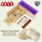 Silicone Soap Mold Wooden Box Cutter Making Tool Toast Loaf Cake Baking Molds US