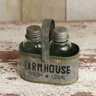 FARMHOUSE SALT AND PEPPER SHAKER Distressed Rustic Metal Caddy w Handle Co