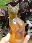 Fenton Stylized Cat Halloween cat witches spiders Carnival Glass