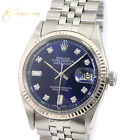Rolex Mens Datejust  Stainless Steel Blue Diamond Dial Fluted Bezel 36mm Watch