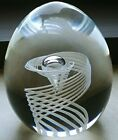 Signed Steuben Latticino Optic Swirl George Thompson Glass Paperweight 3 1 2x3