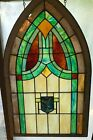 Antique Stained Glass Window With Wood Frame Architectural Church