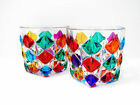Hand Painted Italian Crystal Puzzle Juice Water Whiskey Glass Set of 2
