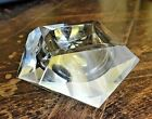 VINTAGE MURANO ITALY SOMMERSO LIGHT GREY GEODE CUT CRYSTAL GLASS BOWL CAMPANELLA