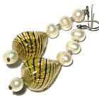 ARTISAN STERLING SILVER BLOWN SWIRL STRIPE GLASS PEARL DANGLE EARRINGS