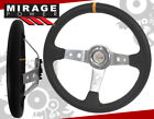 35 DEEP DISH STEERING WHEEL BLACK SILVER PVC LEATHER YELLOW STITCH FOR NISSAN