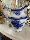 NICE Vintage FLOW BLUE PITCHER ASTORIA NEW WHARF POTTERY ENGLAND Mark 65