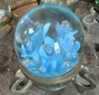 Moving Sale Bright Blue Flower Clear Glass Paperweight  Stand