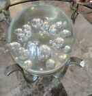 Moving Sale Bright Clear Bubble Glass Paperweight  Stand