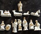 Vintage Porcelain Nativity Set 12 Pc Hand Painted White Gold Trim Crystals